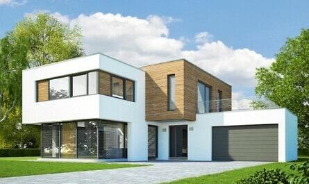 Modernes Haus mit Fassadenprofilen aus Holz