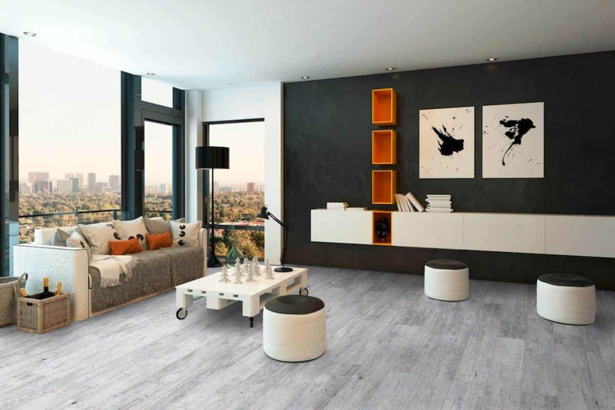 Wohnzimmer mit Boden in Steinoptik