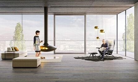 Wohnraum mit Glasfassade