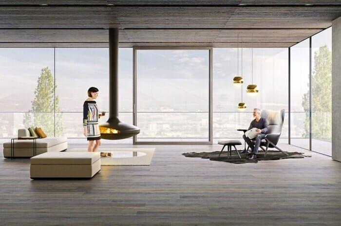 Rahmenlose Fenster vermitteln ein freies Wohngefühl