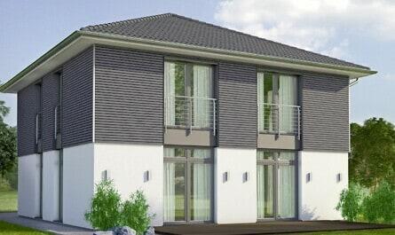 Neubau mit klarer Holzfassade