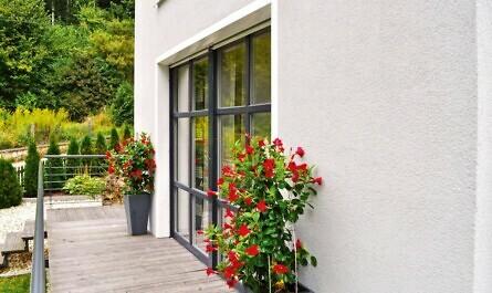 Balkontür mit Blumen
