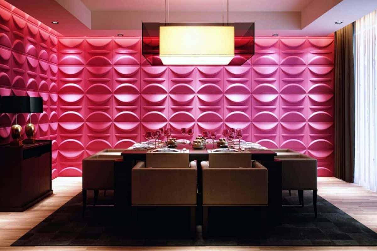 Pinker 3D-Wandbelag mit Esstisch