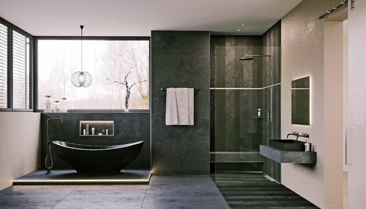 Badezimmer mit schwarzer Wanne